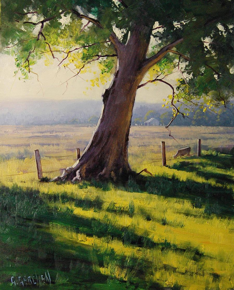 Distant Farm Painting