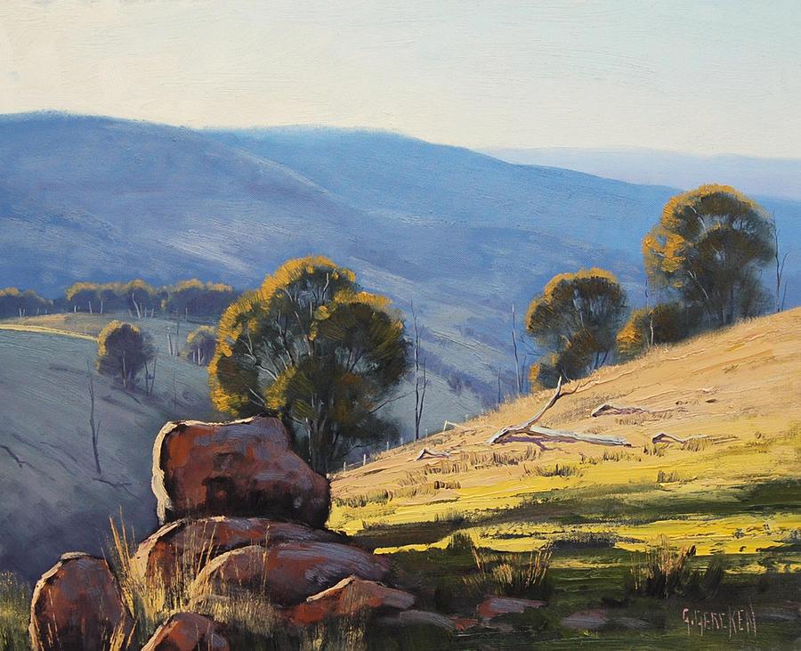 Field Mountain Painting Acrylic