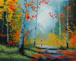 Autumn Landscape With Figure by artsaus