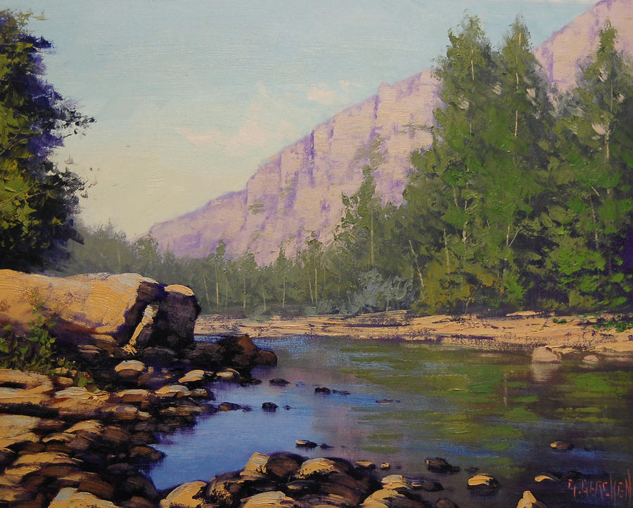 Acrylic Paintings Green Hills River