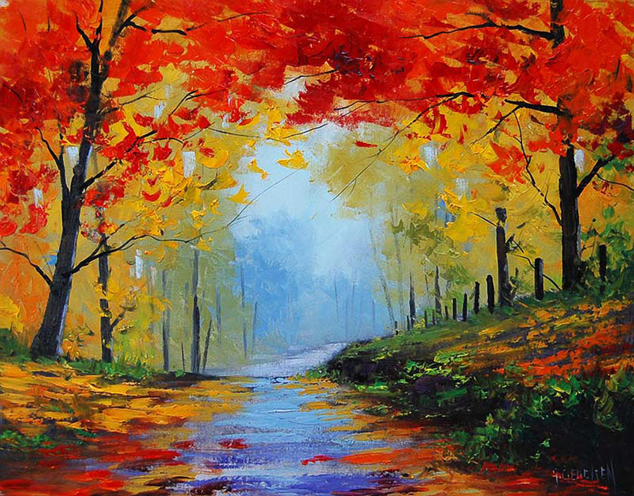 Magic autumn colors by artsaus on deviantart for Fall paintings easy