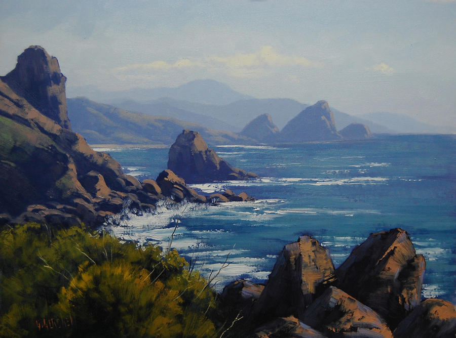 Oregon Ocean Painting by artsaus