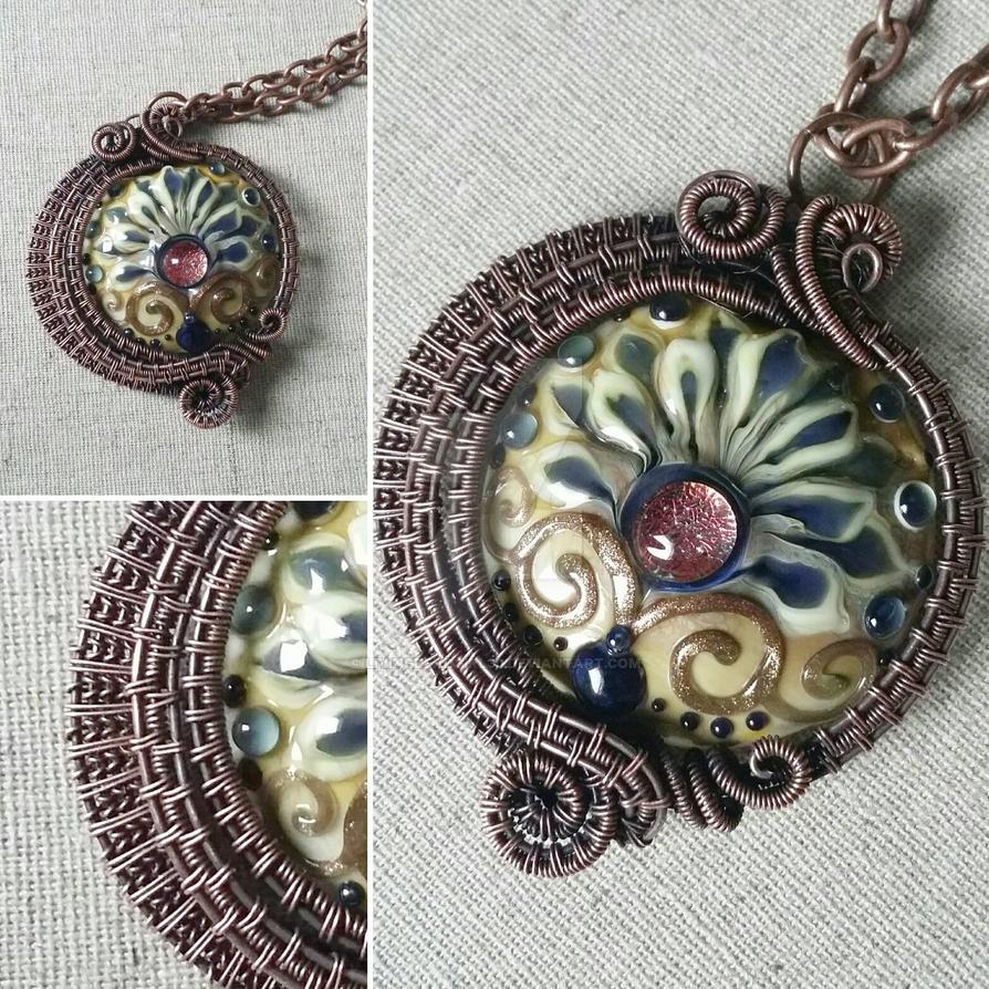 Lampwork Glass Bead in Copper Wire by Livingdeadgirl30