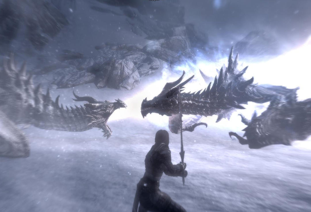 Septima and Paarthurnax VS Alduin by JaneShepard89