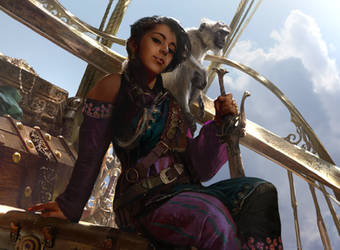 Magic The Gathering: Kari Zev, Skyship Raider by Cryptcrawler