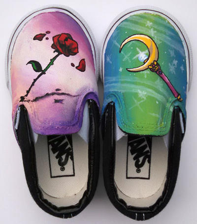 Sailor Moon Painted Vans Shoe for Toddlers by Ceil