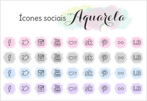 Freebie Watercolor social Icones sociais aquarela by xkaroline