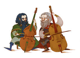 Dwalin and Balin playing viols by Norloth