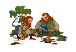 Oin and Gloin making a fire by Norloth
