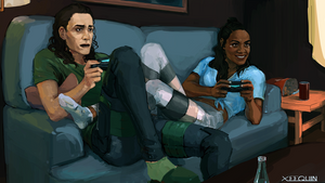 Loki and Valkyrie Playing Video Games