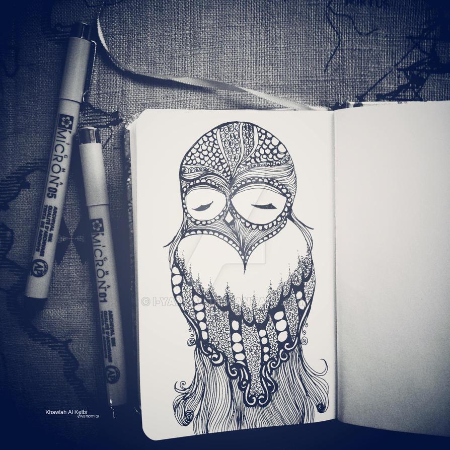 Owl zentangle by i-yamami