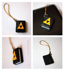 Zelda Triforce Book DS Charm by claremanson
