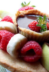 Cookie Plate + Bowl With Fruit + Chocolate Dip Fun by claremanson
