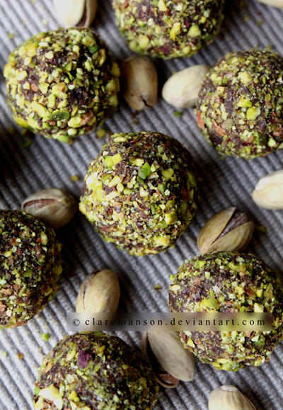 Naughty Chocolate Pistachio Truffles by claremanson
