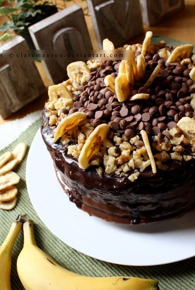 Banana, Walnut, Rum and Chocolate Cake by claremanson
