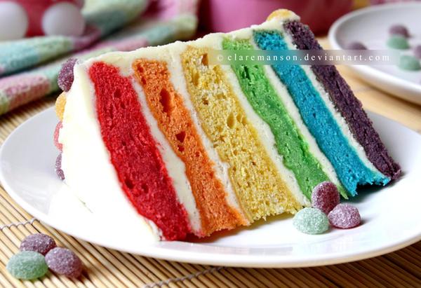Rainbow Cake Slice by claremanson