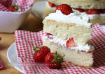 Strawberries and Cream Cake Slice