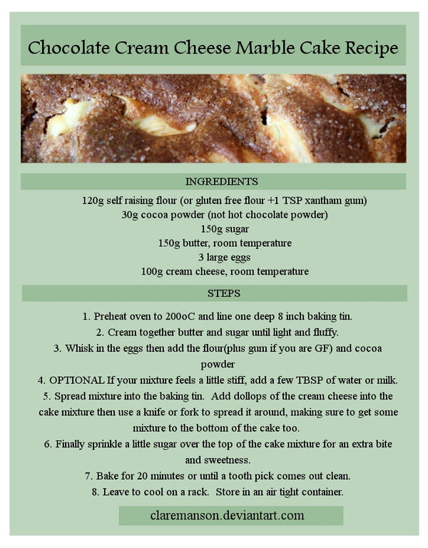 Chocolate Cream Cheese Marble Cake Recipe by claremanson