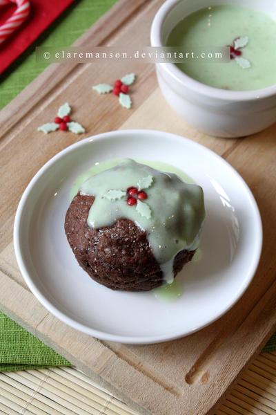 Warm Chocolate Cake With Mint Custard by claremanson