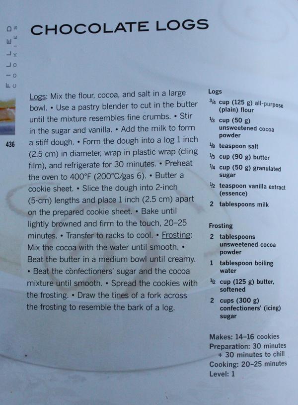 Chocolate Log Cookies Recipe by claremanson