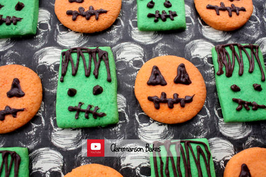 Frankenstein and Pumpkin Cookies (+YouTube Recipe)