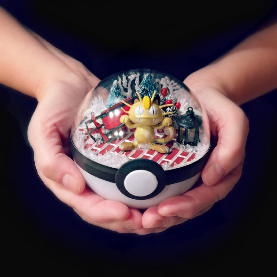 Meowth Christmas Town - Poke Ball Terrarium by TheVintageRealm