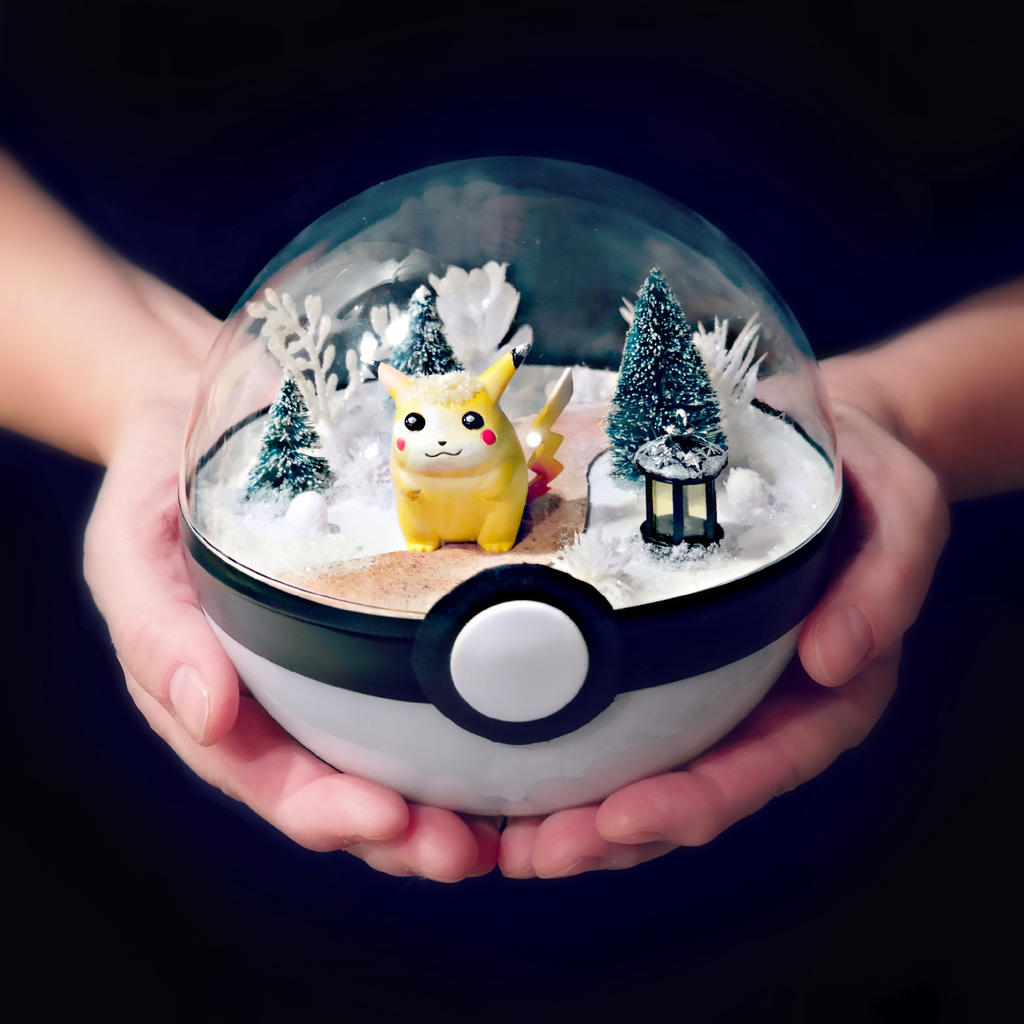 Pikachu December Path - Poke Ball Terrarium by TheVintageRealm