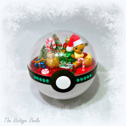 Poke Ball Terrarium - Christmas Day Eevee by TheVintageRealm