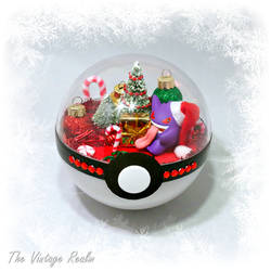 Poke Ball Terrarium - Christmas Day Gengar by TheVintageRealm