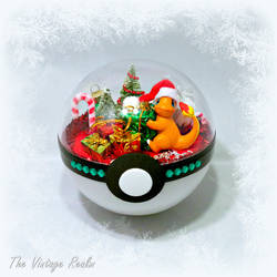 Poke Ball Terrarium - Christmas Day Charmander by TheVintageRealm