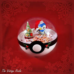 Poke Ball Terrarium - Chritmas Kitchen Piplup by TheVintageRealm