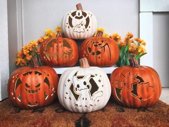 Hand Carved Pokemon Pumpkins!
