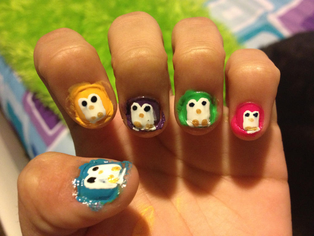 Colorful Penguin Nail Art by PinkyyPromise on DeviantArt