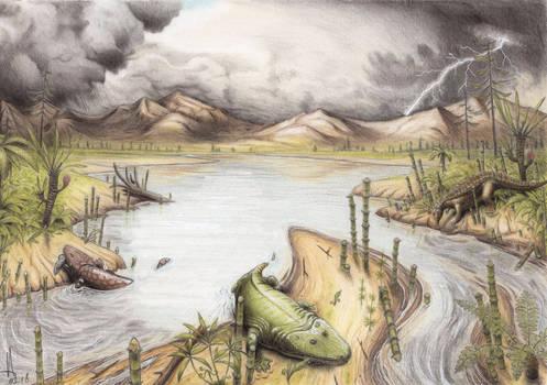 Rainy season in Triassic Krasiejow