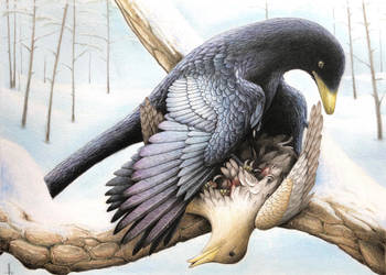Microraptor gui and its prey Zhongjianornis yangi. by RavePaleoArt