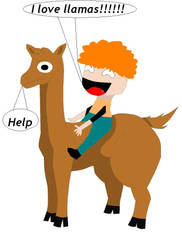 Carl on a llama by princessoficestorm
