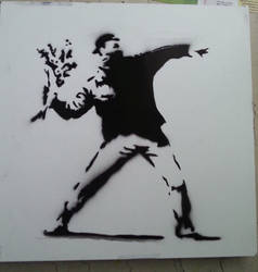 Banksy's Flower Thrower by ModokSprayArt