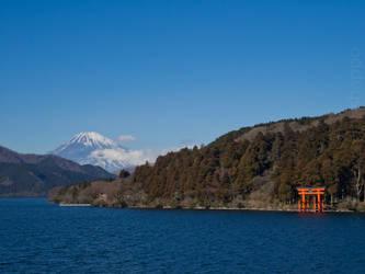 Hakone - Lake Ashi - Mount Fuji and torii gate by Hermes-Honshappo