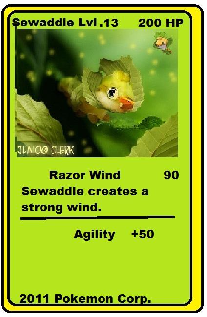 sewaddle pokemon card by acrospinorex on deviantart