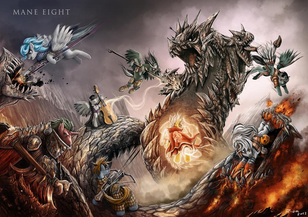 Mane Eight: Battle ponies by Ziom05