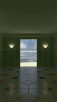 Some sort of room on a beach