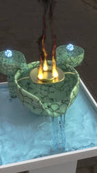 Bowl, water, and fire