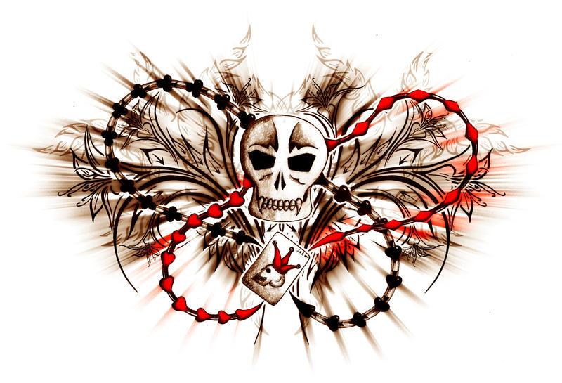 Poker Skull Tattoo by XResch