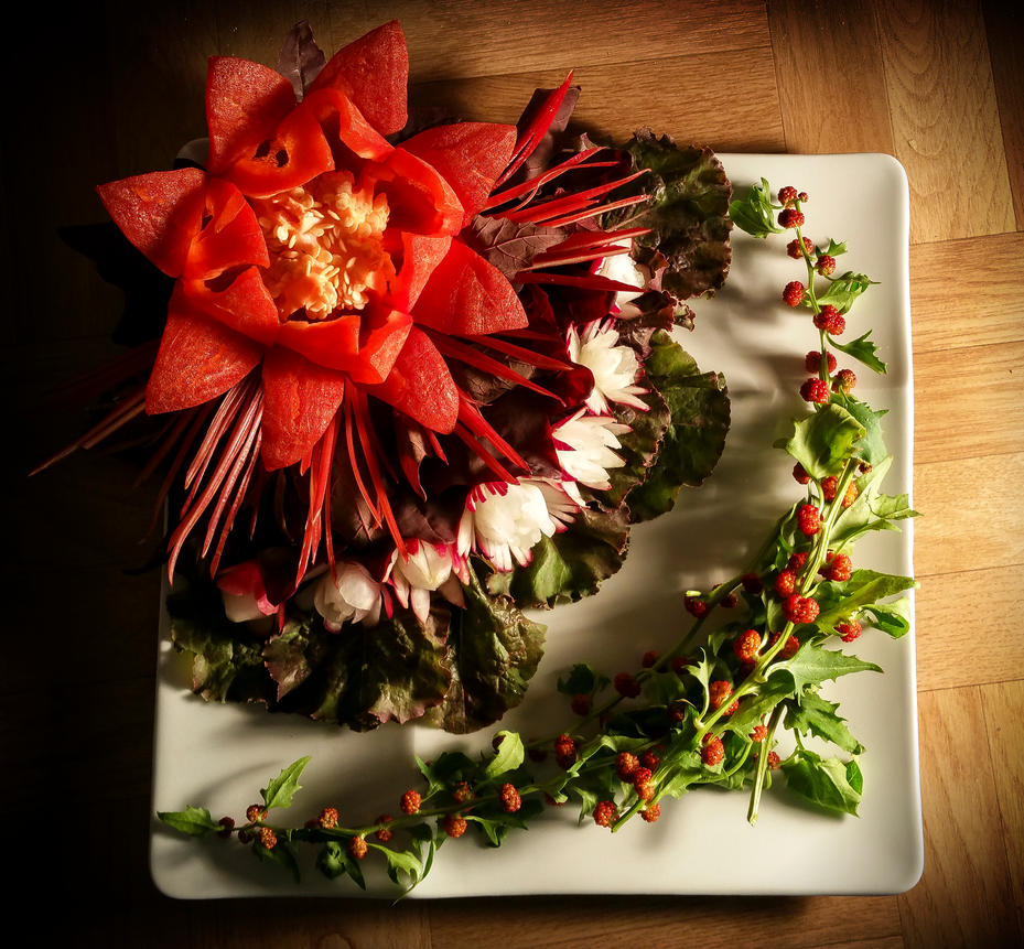 FoodCarving - Paprika Lotus 02 by XResch