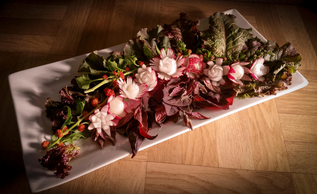 FoodCarving - Radish Flowers by XResch