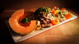 Food Art - Melon, Mushrooms and Concumber Salad