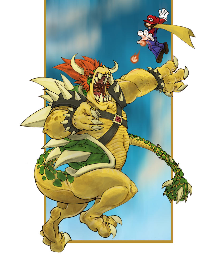 Bowser Versus Mario by virgiliArt