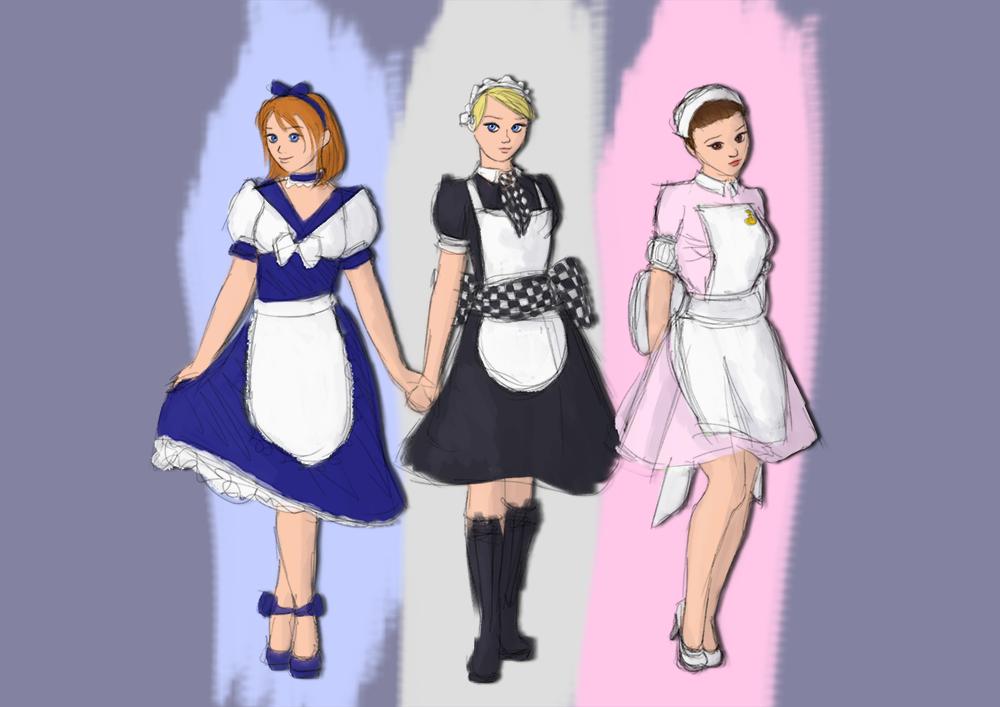 Caregan's doodles: maid styles by Caregan