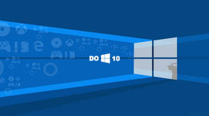 Flat Windows 10 Wallpaper Blue
