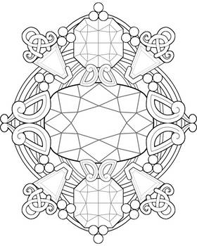 Gemstone Fantasy ~ Adult Coloring Page